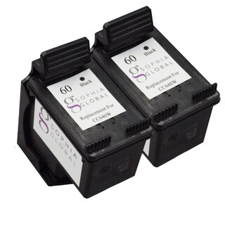 Sophia Global Remanufactured Ink Cartridge Replacement for HP 60 (2 Black)
