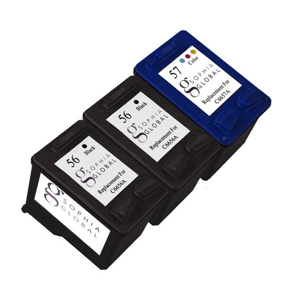 Sophia Global Remanufactured Ink Cartridge Replacement for HP 56 and HP 57 (2 Black, 1 Color)