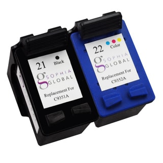 Sophia Global Remanufactured Ink Cartridge Replacement for HP 21 and HP 22 (1 Black, 1 Color)
