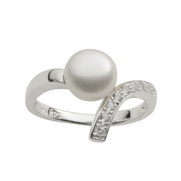 Pearls For You Sterling Silver White Freshwater Button Pearl and White Topaz Ring (8-8.5 mm)