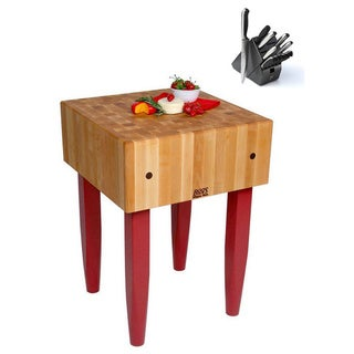 John Boos Color Choice PCA1 18 x 18-inch Wood Butcher Block Table and Henckels 13-piece Knife Block Set