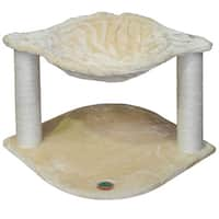 Go Pet Club 18-inch Faux Fur Cat Tree with Basket - Beige