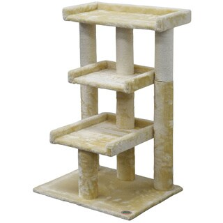 Go Pet Club 35-inch Faux Fur 3-level Cat Tree Scratcher
