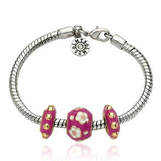 Little Miss Twin Stars Super Star Cutie Hot Pink Enamel Children's Bracelet