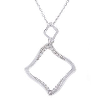 Kabella Sterling Silver Open Square Cubic Zirconia Silver Pendant Necklace