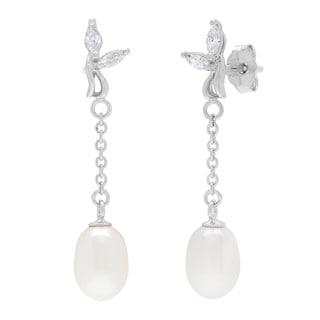 Kabella Sterling Silver Freshwater Pearl Cubic Zirconia Dangle Earrings (7-8 mm)