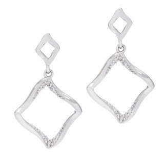 Kabella Sterling Silver Cubic Zirconia Open Square Dangle Earrings