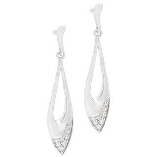 Kabella Sterling Silver Cubic Zirconia Leaf Dangle Earrings