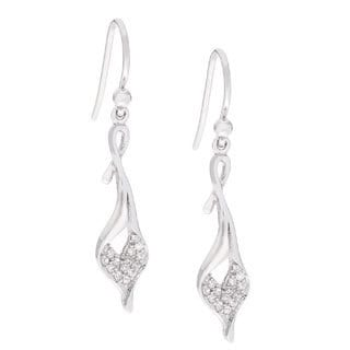 Kabella Sterling Silver Cubic Zirconia Lily Flower Dangle Earrings