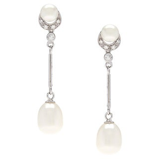 Kabella Sterling Silver Freshwater Vintage Drop Pearl Cubic Zirconia Dangle Earrings (6-7, 8-9 mm)