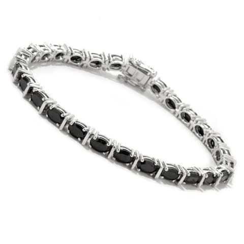 Sterling Silver Oval-cut Black Spinel Bracelet