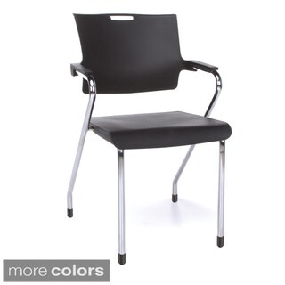 OFM Smart Series Multiuse Plastic Stackable Chairs with Arms (Set of 4)