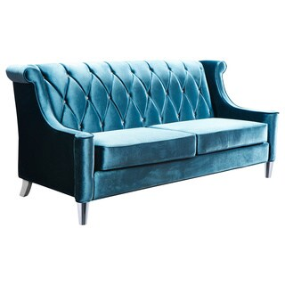 Armen Living Barrister Blue Velvet Crystal Button-tufted Sofa