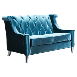 Barrister Blue Velvet Crystal Button-tufted Loveseat