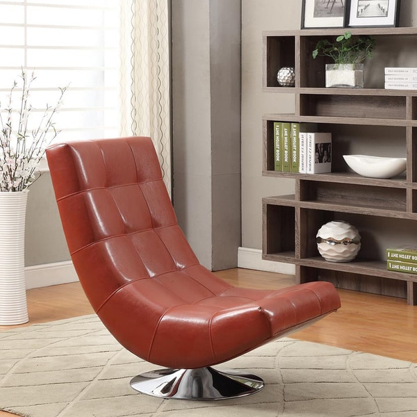 Mario red bonded leather armless swivel club chair free for Red swivel chairs for living room