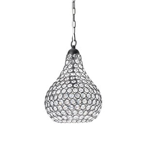 1-light Pear-shape Matte Black/ Crystal Contemporary Chandelier