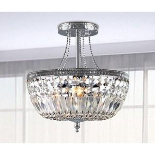 Clay Alder Home Jericho Crystal Basket Semi-flush Mount Chrome 3-light Chandelier