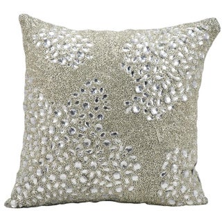 Mina Victory Luminescence Fully Beaded Silver Throw Pillow (16-inch x 16-inch) by Nourison