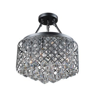 Nerisa Black Semi-flush Mount 4-light Crystal Chandelier