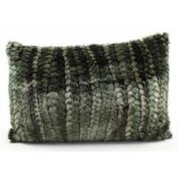 Green Braided Faux Fur 12 x 18-inch Throw Pillow