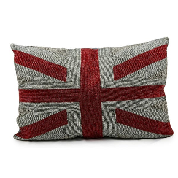Mina Victory Lifestyle Full Beads Union Jack Red Throw Pillow (16-inch x 24-inch) by Nourison