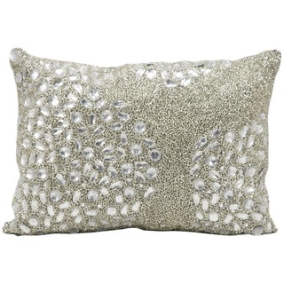 Mina Victory Luminescence Fully Beaded Silver Throw Pillow (10-inch x 14-inch) by Nourison