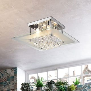 Lucia Square Chrome and Crystal Flush Mount 4-light Chandelier|https://ak1.ostkcdn.com/images/products/8865732/P16092288.jpg?impolicy=medium