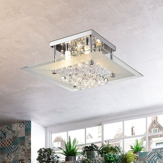 Lucia Square Chrome And Crystal Flush Mount 4 Light Chandelier
