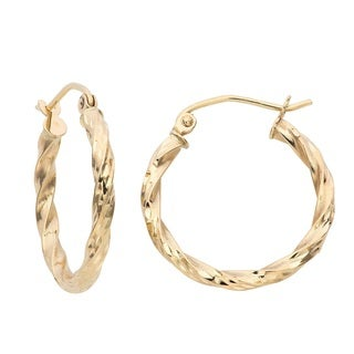 Gioelli 14k Yellow Gold Twisted Hoop Earrings
