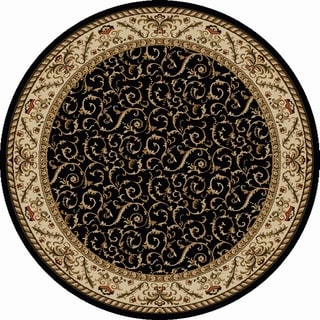 Admire Home Living Amalfi Black Scroll Oriental Area Rug (5'3 Round) - 5'3
