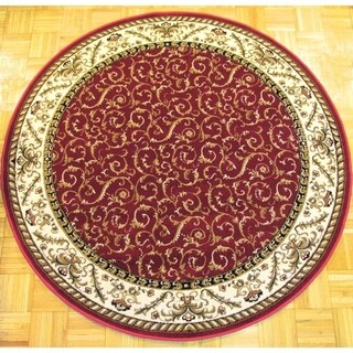 Admire Home Living Amalfi Red Scroll Oriental Area Rug (5'3 Round)