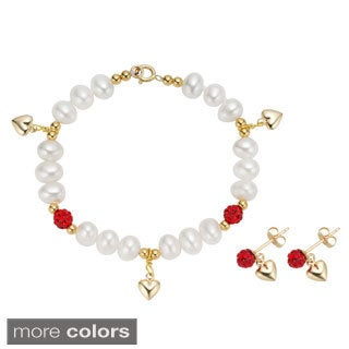 Pearlyta 14k Yellow Gold Children's Freshwater Pearl CZ Heart Charm Bracelet and Earring Set (4-5 mm) - Red