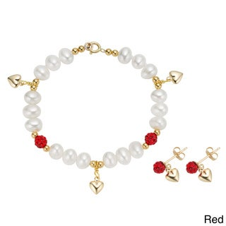Pearlyta 14k Yellow Gold Children's Freshwater Pearl CZ Heart Charm Bracelet and Earring Set (4-5 mm)