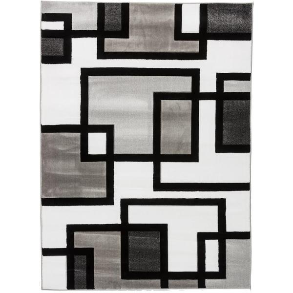 Shop Well Woven Blocks In Blocks Black White Area Rug 710 X 910