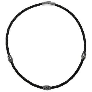 Braided Black Leather Necklace with Cobblestone Texture Stainless Steel Oval Beads