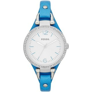 Fossil Women's ES3470 'Georgia' Crystal Accent Analog Blue Leather Watch