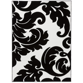 damask vines black white area rug 5 39 3 x 7 39 3 free shipping today