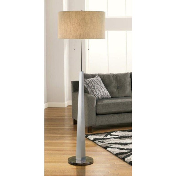 Artiva Usa Luxor Contemporary 68 Inch Square Tapered Brushed Steel Floor Lamp With Marble Base