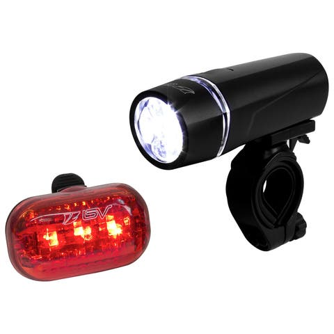BV USA Black Metal/Plastic/Rubber Quick-release Bike Light Set with Super Bright 5-LED Headlight and 3-LED Rear Taillight