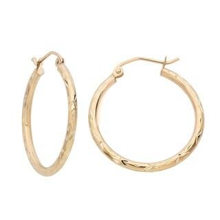 Gioelli 14k Yellow Gold High Polish Hoop Earrings