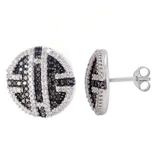 Sterling Silver 1ct TDW Black and White Diamond Button Earrings