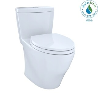 Toto Aquia One-Piece Elongated Dual-Max, Dual Flush 0.9 & 1.6 GPF Universal Height Skirted Toilet MS654114MF#01 Cotton White