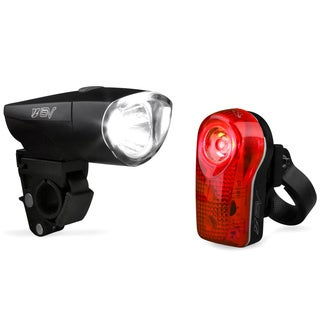 BV Water Resistant Bike Light 1-Watt Headlight and 1/2 Watt Rear Taillight