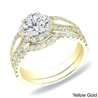 Auriya 14k Gold 1 1/2ct TDW Certified Round Diamond Halo Bridal Ring Set