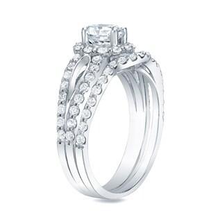 Auriya 14k Gold 1 1/2ct TDW Certified Round Diamond Halo Bridal Ring Set (H-I, SI1-SI2)
