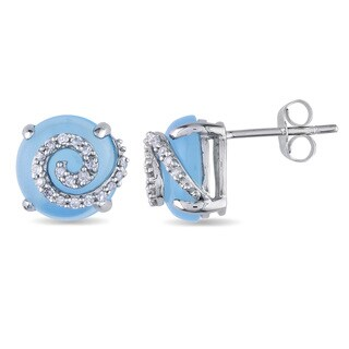 Miadora 10k White Gold Blue Chalcedony and 1/5ct TDW Diamond Earring (H-I, I2-I3)