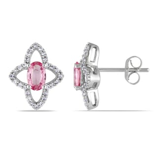 Miadora 10k White Gold Pink Sapphire and Created White Flower Sapphire Earrings