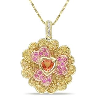 Miadora Signature Collection 14k Yellow Gold Multi-color Sapphire and Diamond Hearts Necklace