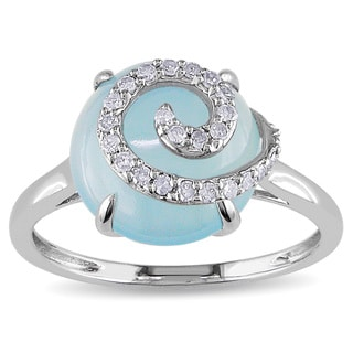 Miadora 10k White Gold Blue Chalcedony and 1/6ct TDW Diamond Ring (H-I, I2-I3)