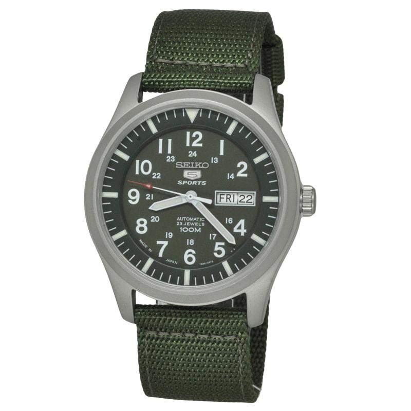 Seiko Men's 5 Sports SNZG09K1 Green Nylon Strap Watch (6)...